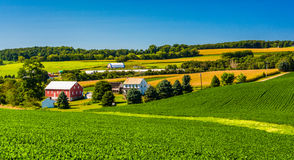 View of a farm in rural York County, Pennsylvania. Royalty Free Stock Images