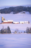 View of farm in winter snow, VT Royalty Free Stock Photos