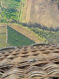 View on farmland from basket of hot air balloon royalty free stock photography