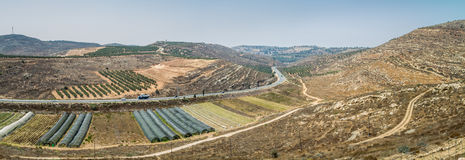View of the farmland, settlement Shilo in Israel stock image