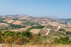 View of Italian Countryside, Sicily, Italy royalty free stock photos