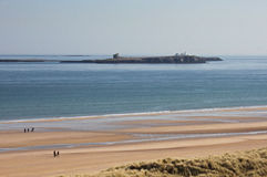 View of the Farne Islands, Northumberland. View of the Farne Islands, Northumberland, from the beach near Seahouses Stock Image