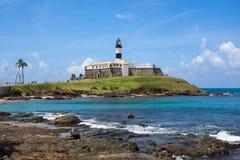 View of Farol da Barra in Salvador, Bahia, Brazil. View of the famous Farol da Barra (Barra Lighthouse) in Salvador da Bahia, Brazil Stock Photos