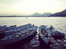 The view of fatehsagar from its pal. Its fatehsagar view in evening at udaipur, rajasthan Royalty Free Stock Photos