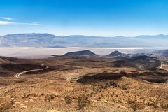 View from the Father Crowley Vista Point overlooking the Panamin. T Valley with the Panamint Range in the background, Death Valley National Park, California Stock Photo