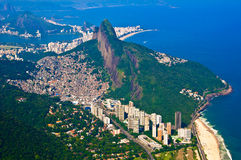 Aerial Rio de Janeiro. View of favela Rocinha and Dois Irmaos mountain from Pedra da Gavea Royalty Free Stock Image