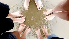 Feet of family on sandy beach. A view of the feet of a family standing in the water on a sandy beach Stock Photo