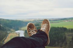 View of feet on a rock Royalty Free Stock Photos