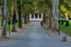 View of the famous Zrinjevac park in the city center of Zagreb, Croatia royalty free stock photo