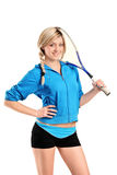 View of a female squash player posing Royalty Free Stock Images