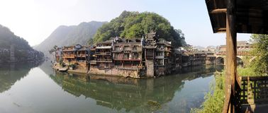 View of fenghuang town. View of fenghuang ,a small beautiful town in china stock photo
