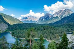 View from Fernpass to Zugspitze, Austria royalty free stock photo