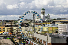 View of the Ferris wheel and the Cathedral in Helsinki.Finland. Royalty Free Stock Photos