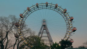 View of the ferris wheel from the ground, Vienna, Austria stock video