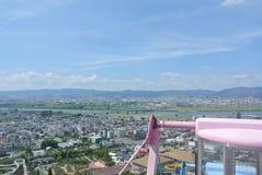 The view from Ferris wheel in Hirakata Park. The amusement Hirakata park in Hirakata.  Osaka, Japan. Named 'Hirapah'. Hirakata Park is the oldest amusement park Stock Image
