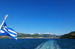 View from the ferry on the blue sea. Royalty Free Stock Photography