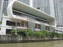 View of modern buildings along the Pasig river, Manila, Philippines royalty free stock images