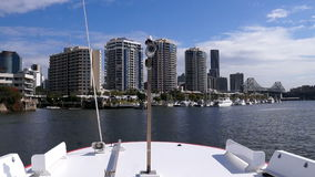 View from ferry on Brisbane river and skyscrapers stock video footage