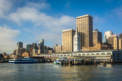 View of the Ferry Building and buildings from Pier 1  Stock Photo