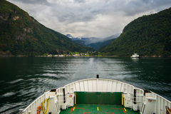 View from the ferry on Eidsdal. Royalty Free Stock Image