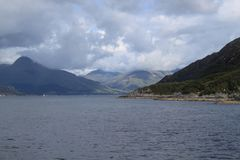 A view from the Mallaig -  Armadale ferry. A view from the ferry going to the Isle of Skye from the mainland Stock Photo