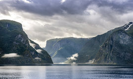 The view from the ferry on the narrowest fjord Stock Photos