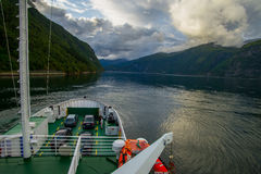 View from the ferry on Norwegian fjord. Stock Image
