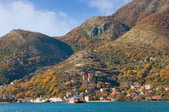 View of ferry port at Kamenari village. Montenegro Royalty Free Stock Photography
