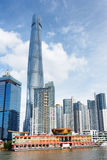 View of ferry station on the Huangpu River in Shanghai, China Royalty Free Stock Image