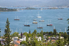 View of Fethiye bay in Mugla province Royalty Free Stock Images