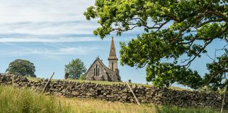 View from Fewston Reservoir toward St Andrews Church, Blubberhouses, North Yorkshire royalty free stock photos