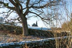 View from Fewston Reservoir toward St Andrews Church near Blubberhouses royalty free stock photos