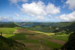 View of field and lake at Sete Cidades, Sao Miguel, Azores, royalty free stock photos
