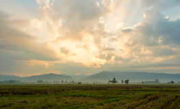 View field and Mountain in the morning - location at chiangkham phayao , thailand Royalty Free Stock Photos