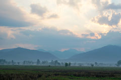 View field and Mountain in the morning - location at chiangkham phayao , thailand Royalty Free Stock Image