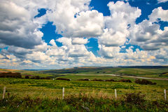 Fields near Seaford, U.K. View of the fields andhorizon as seen from Beachy head, near Seaford, U.K Royalty Free Stock Photo