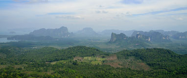 View of the Fields and Mountains in Thailand from high Top