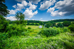 View of fields near Glen Rock, in York County, Pennsylvania. Royalty Free Stock Photo