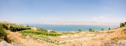 View of fields and orchards overlooking Israel's Sea of Galilee royalty free stock images