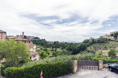 View of the fields surrounding Siena from the Market Square `Piazza del Mercato` Royalty Free Stock Photo