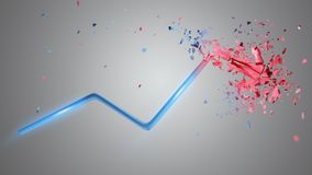 Financial arrow going up and explosing at the end - 3d rendering. View of a Financial arrow going up and explosing at the end - 3d rendering Stock Images