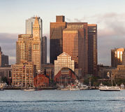 View of Financial District and Harbor in Boston, USA Stock Photography