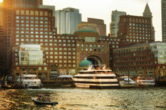 View of Financial District and Harbor in Boston, USA Royalty Free Stock Photo