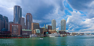 View of Financial District and Harbor in Boston, USA Royalty Free Stock Image