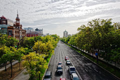 View of the financial street Paseo de la Castellana Royalty Free Stock Photography