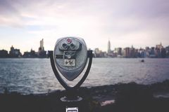 View finder on city waterfront Stock Images
