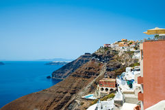 View of Fira on the edge of the caldera. Santorini, Greece. Stock Image