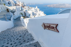 View of Fira with hotels - Santorini Stock Image