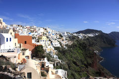 View of Fira. The spectacular scenery from Fira royalty free stock photos
