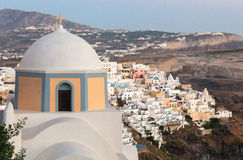 View of Fira at sunset on Santorini island, Greece.  Royalty Free Stock Photo